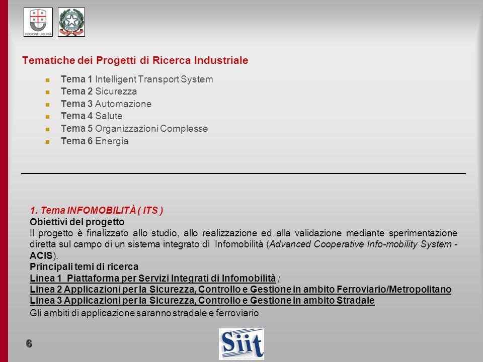 Tematiche dei Progetti di Ricerca Industriale