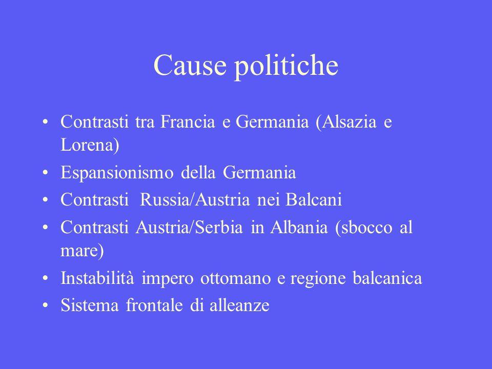 Cause politiche Contrasti tra Francia e Germania (Alsazia e Lorena)