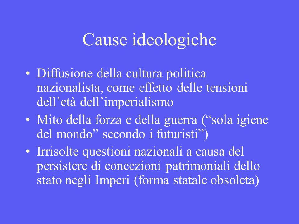 Cause ideologiche Diffusione della cultura politica nazionalista, come effetto delle tensioni dell'età dell'imperialismo.