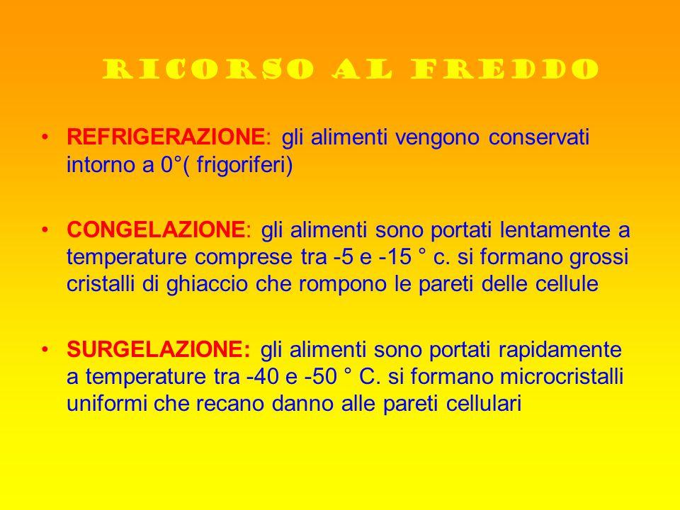 RICORSO AL FREDDO REFRIGERAZIONE: gli alimenti vengono conservati intorno a 0°( frigoriferi)