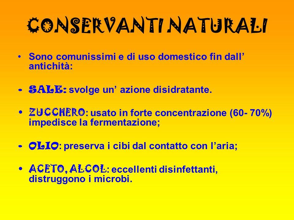 CONSERVANTI NATURALI Sono comunissimi e di uso domestico fin dall' antichità: SALE: svolge un' azione disidratante.