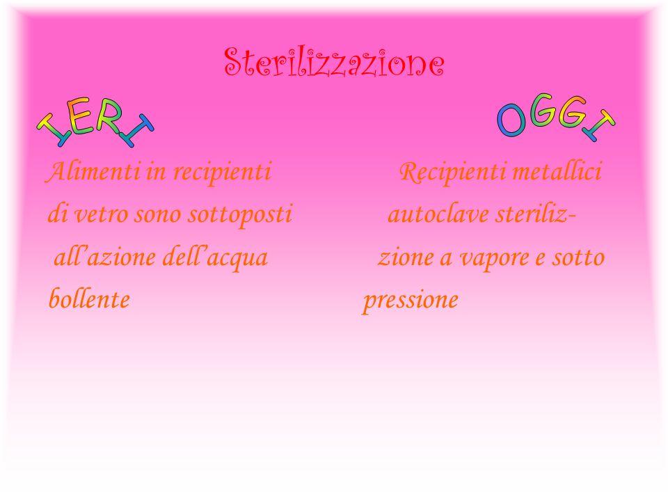 Sterilizzazione OGGI IERI Alimenti in recipienti Recipienti metallici