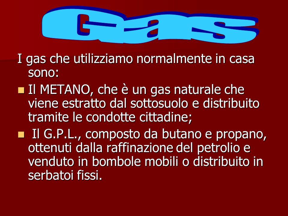 Gas I gas che utilizziamo normalmente in casa sono: