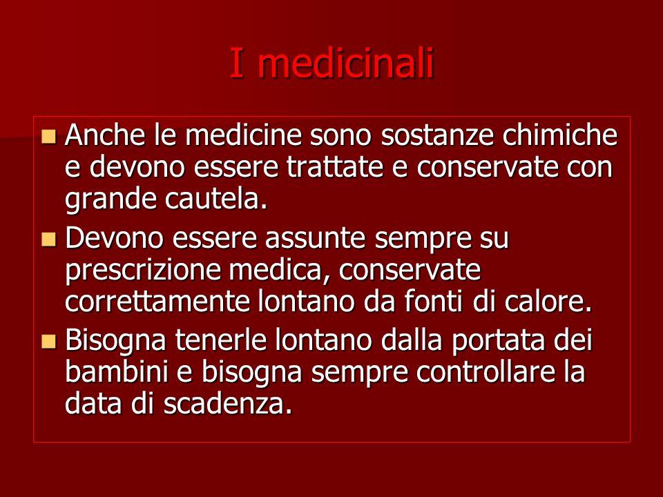 I medicinali Anche le medicine sono sostanze chimiche e devono essere trattate e conservate con grande cautela.