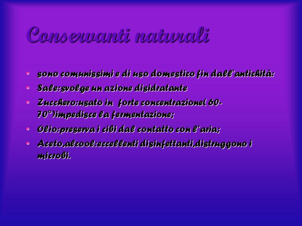 Conservanti naturali sono comunissimi e di uso domestico fin dall'antichità: Sale:svolge un azione disidratante.