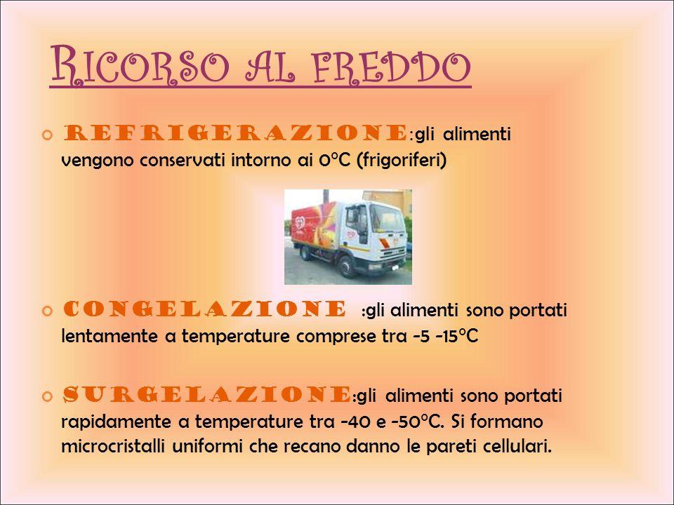 Ricorso al freddo Refrigerazione:gli alimenti vengono conservati intorno ai 0°C (frigoriferi)