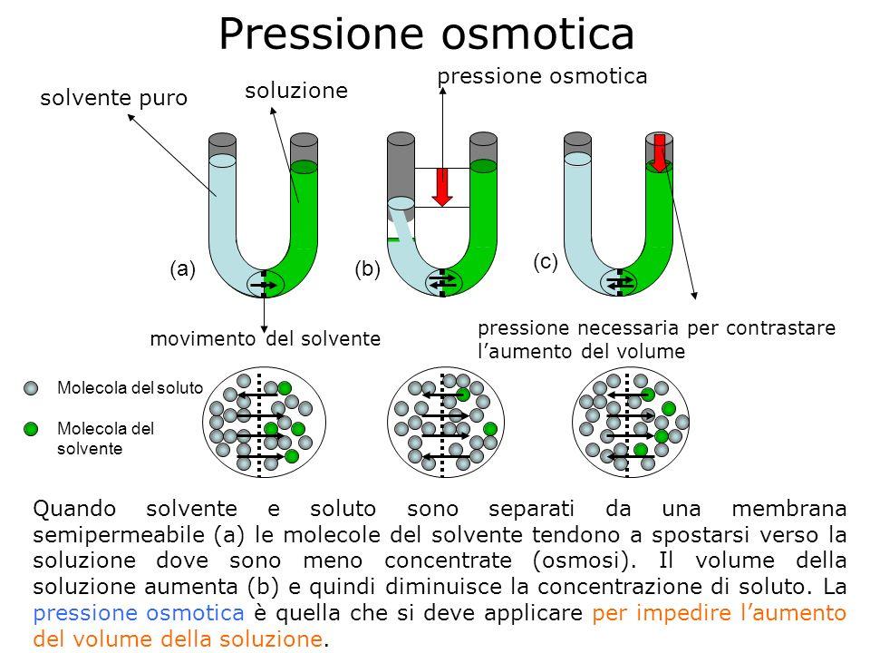 Pressione osmotica pressione osmotica soluzione solvente puro (c) (a)