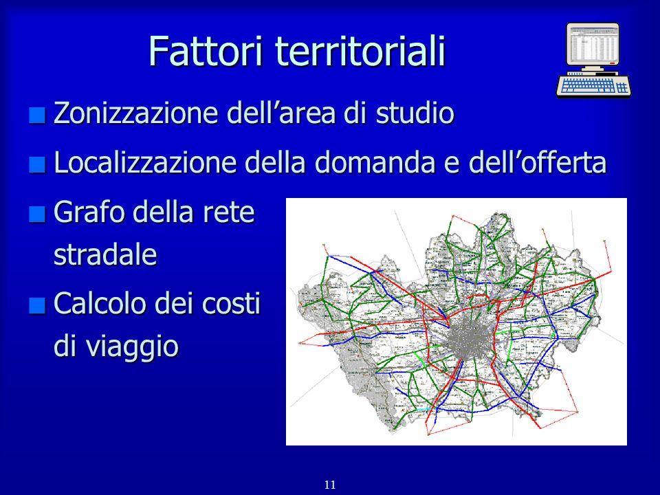 Fattori territoriali Zonizzazione dell'area di studio