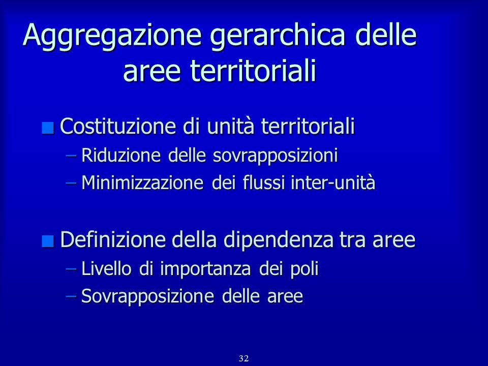 Aggregazione gerarchica delle aree territoriali