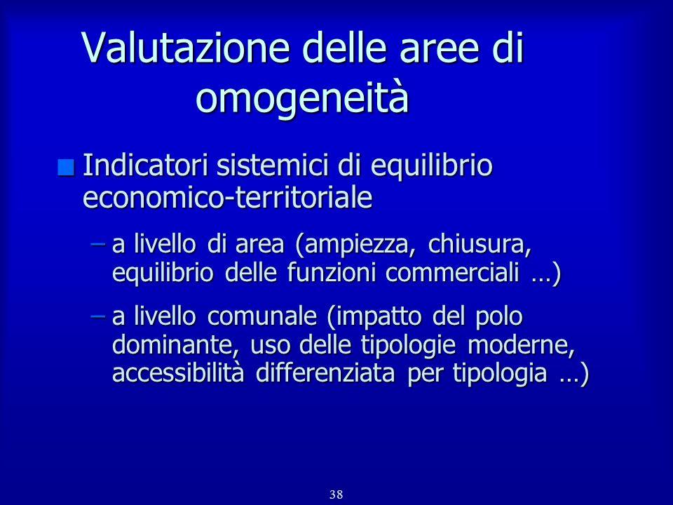 Valutazione delle aree di omogeneità