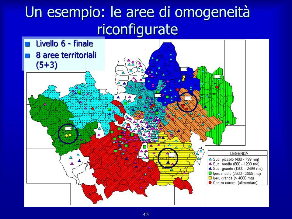 Un esempio: le aree di omogeneità riconfigurate