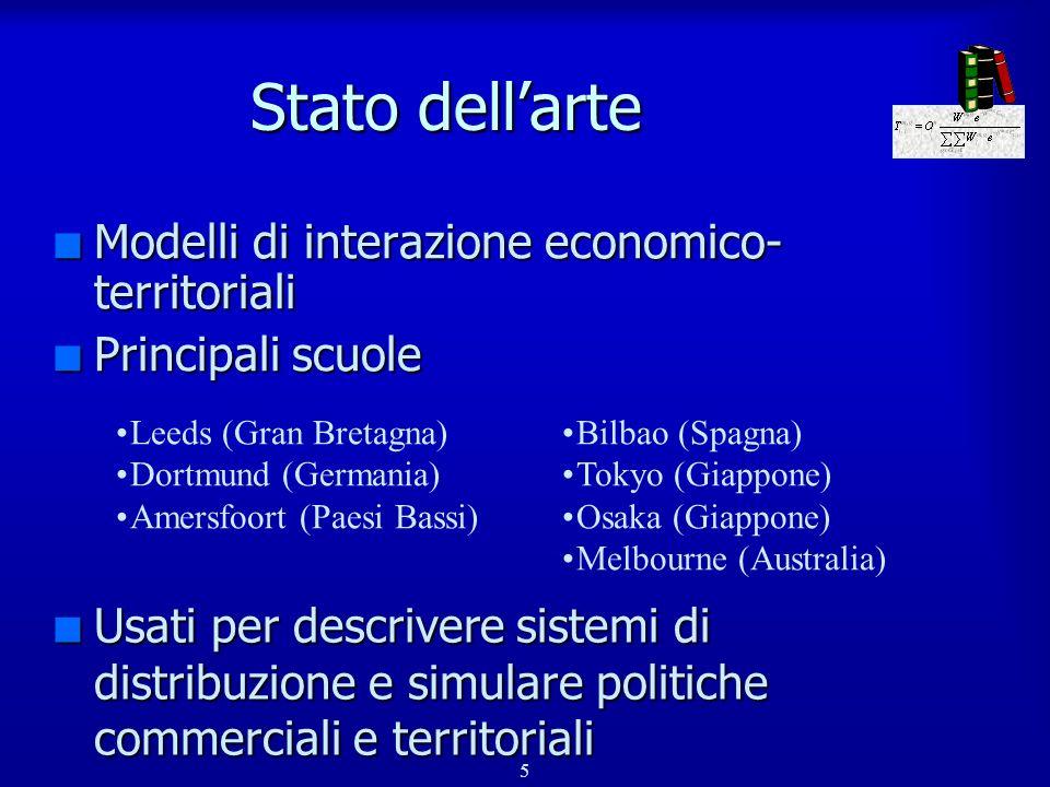 Stato dell'arte Modelli di interazione economico- territoriali