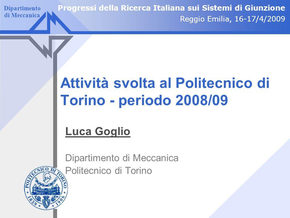 Attività svolta al Politecnico di Torino - periodo 2008/09