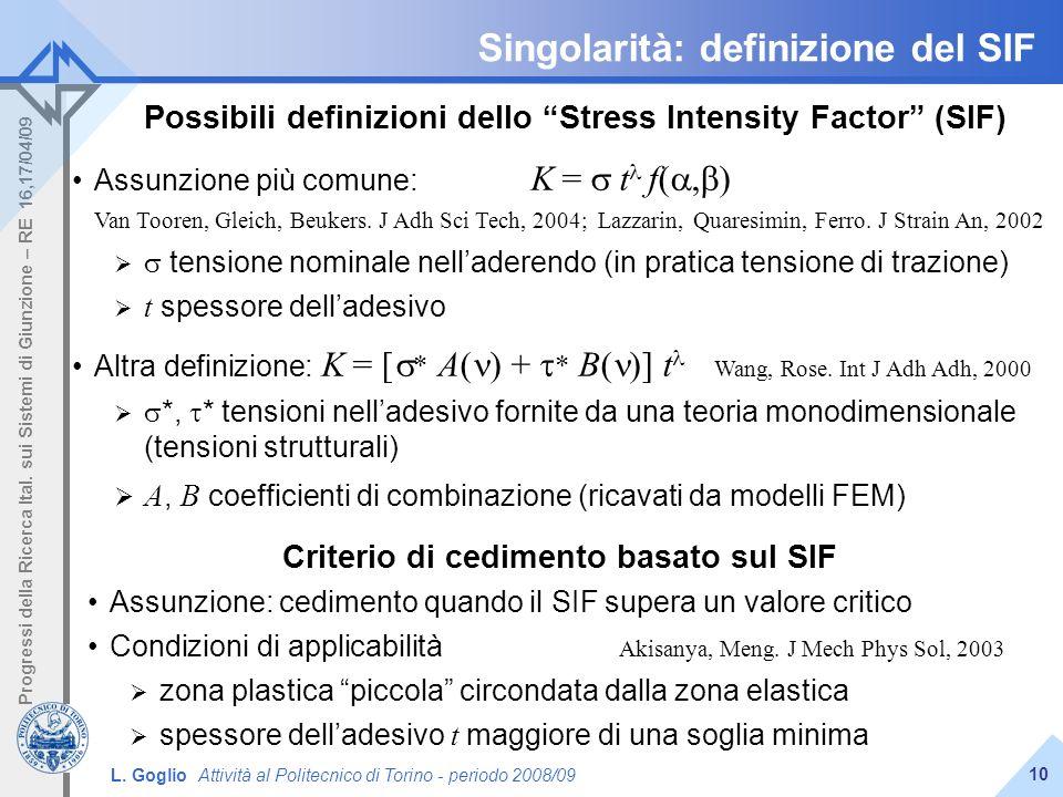 Singolarità: definizione del SIF