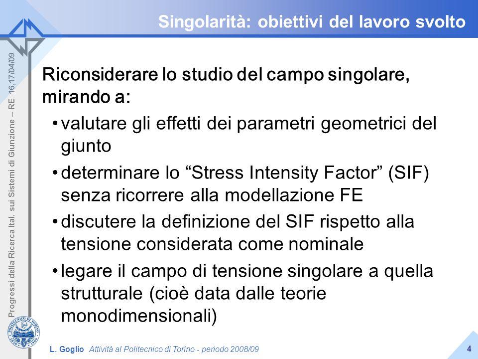 Singolarità: obiettivi del lavoro svolto