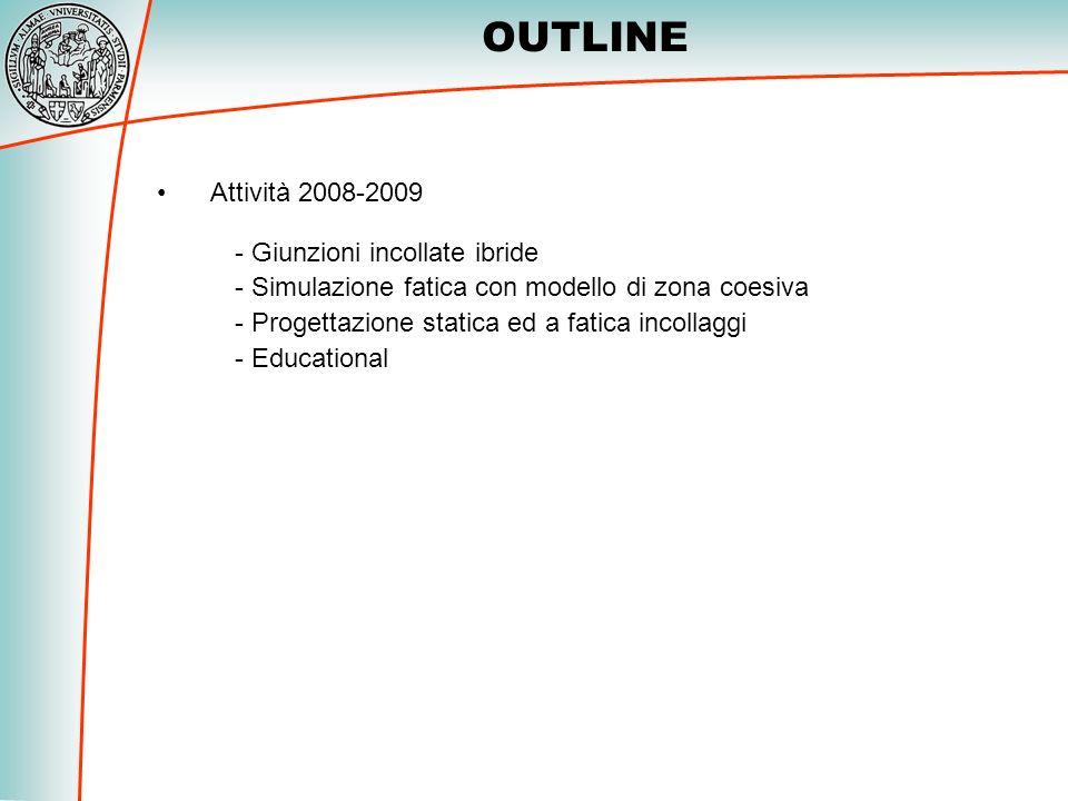 OUTLINE Attività 2008-2009 Giunzioni incollate ibride