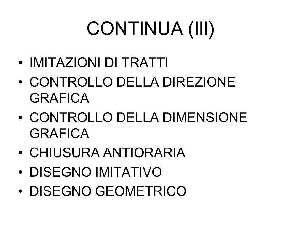 CONTINUA (III) IMITAZIONI DI TRATTI CONTROLLO DELLA DIREZIONE GRAFICA