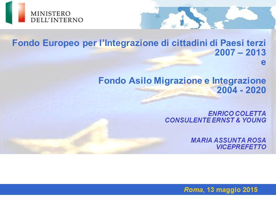 Fondo Europeo per l'Integrazione di cittadini di Paesi terzi 2007 – 2013 e Fondo Asilo Migrazione e Integrazione 2004 - 2020 Enrico ColettA Consulente Ernst & youNG Maria Assunta Rosa Viceprefetto