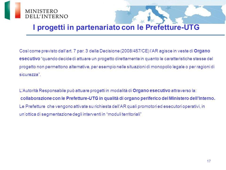 I progetti in partenariato con le Prefetture-UTG
