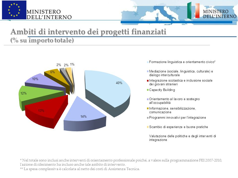Ambiti di intervento dei progetti finanziati