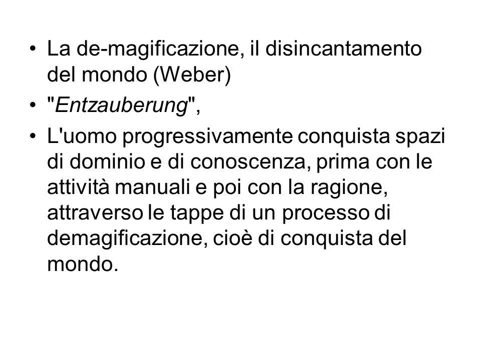 La de-magificazione, il disincantamento del mondo (Weber)