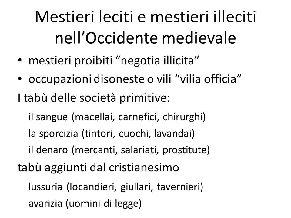 Mestieri leciti e mestieri illeciti nell'Occidente medievale
