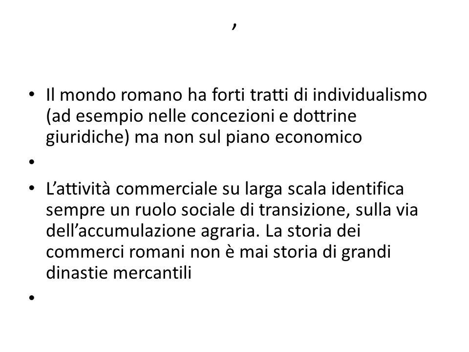 , Il mondo romano ha forti tratti di individualismo (ad esempio nelle concezioni e dottrine giuridiche) ma non sul piano economico.