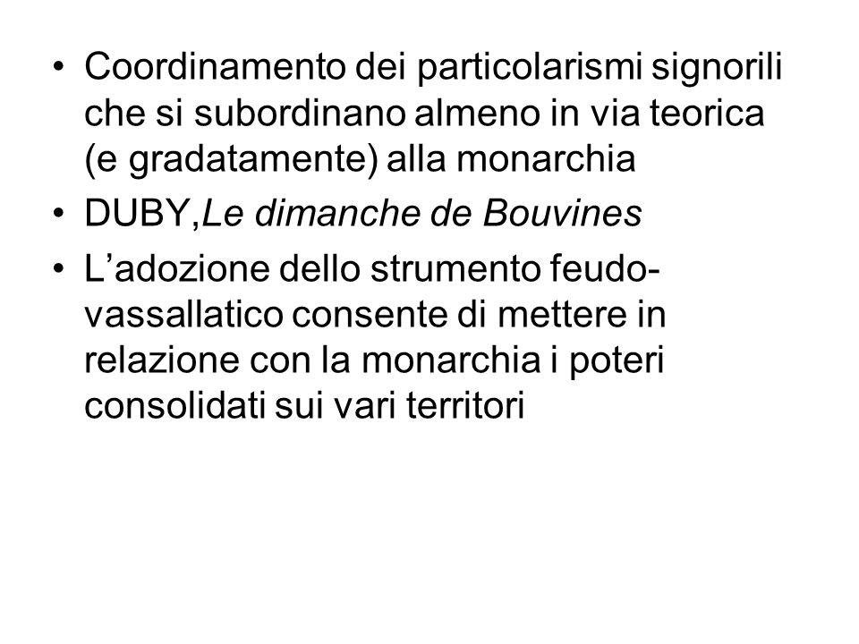 Coordinamento dei particolarismi signorili che si subordinano almeno in via teorica (e gradatamente) alla monarchia