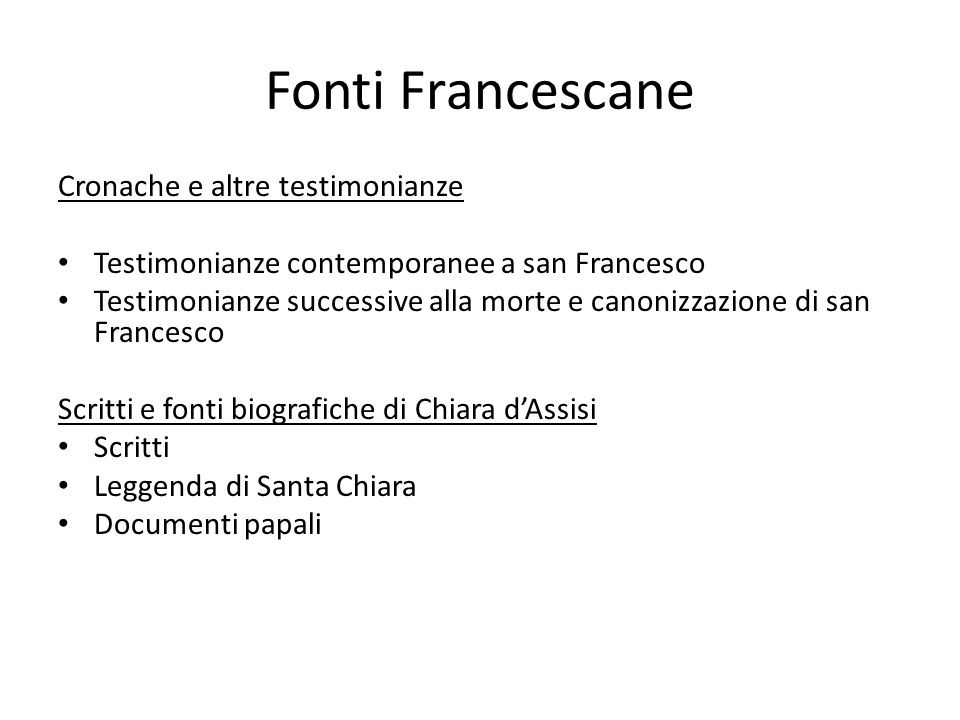 Fonti Francescane Cronache e altre testimonianze