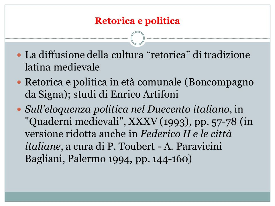 La diffusione della cultura retorica di tradizione latina medievale