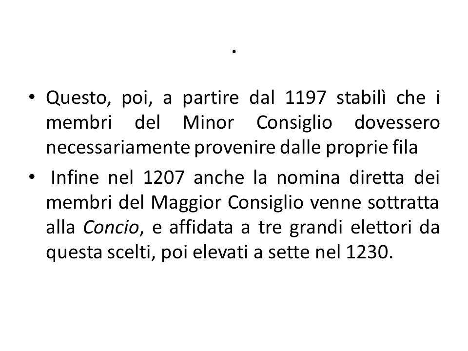 . Questo, poi, a partire dal 1197 stabilì che i membri del Minor Consiglio dovessero necessariamente provenire dalle proprie fila.