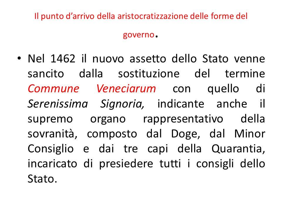 Il punto d'arrivo della aristocratizzazione delle forme del governo.