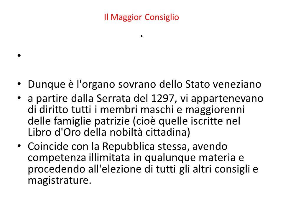 Dunque è l organo sovrano dello Stato veneziano