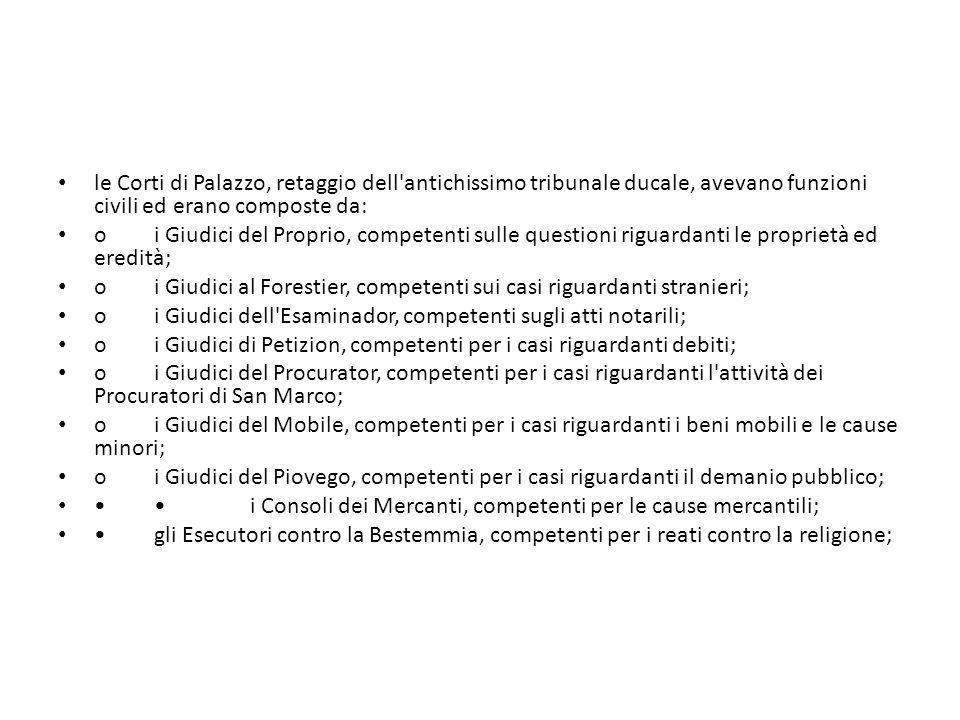 le Corti di Palazzo, retaggio dell antichissimo tribunale ducale, avevano funzioni civili ed erano composte da: