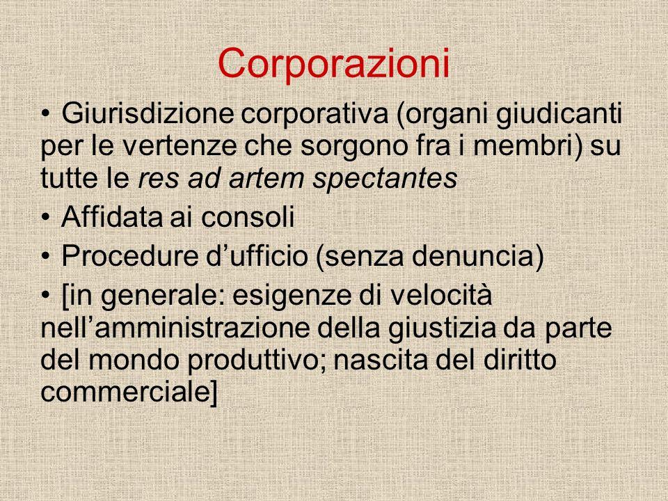 Corporazioni Giurisdizione corporativa (organi giudicanti per le vertenze che sorgono fra i membri) su tutte le res ad artem spectantes.