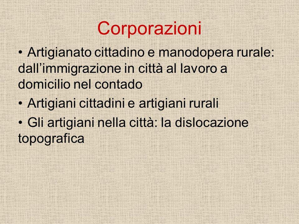Corporazioni Artigianato cittadino e manodopera rurale: dall'immigrazione in città al lavoro a domicilio nel contado.