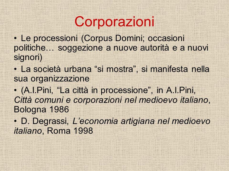 CorporazioniLe processioni (Corpus Domini; occasioni politiche… soggezione a nuove autorità e a nuovi signori)