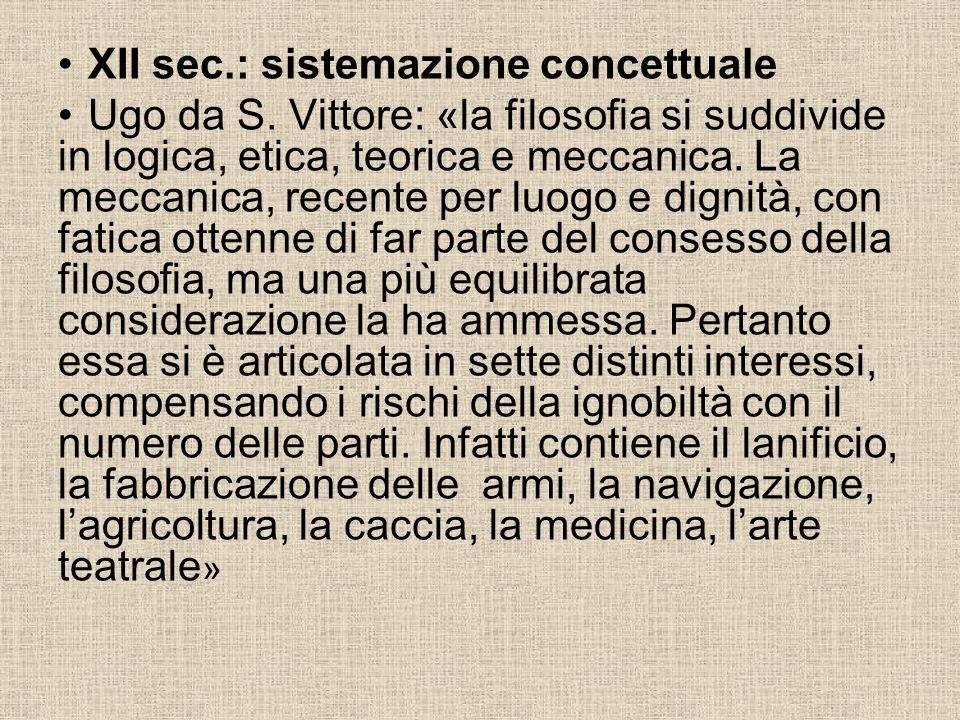 XII sec.: sistemazione concettuale