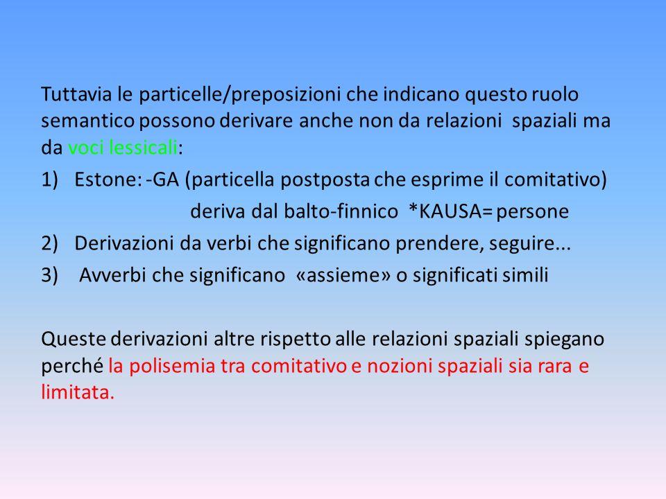 Tuttavia le particelle/preposizioni che indicano questo ruolo semantico possono derivare anche non da relazioni spaziali ma da voci lessicali: