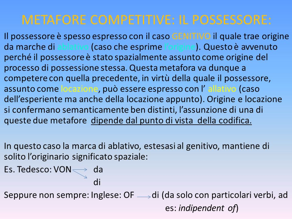 METAFORE COMPETITIVE: IL POSSESSORE: