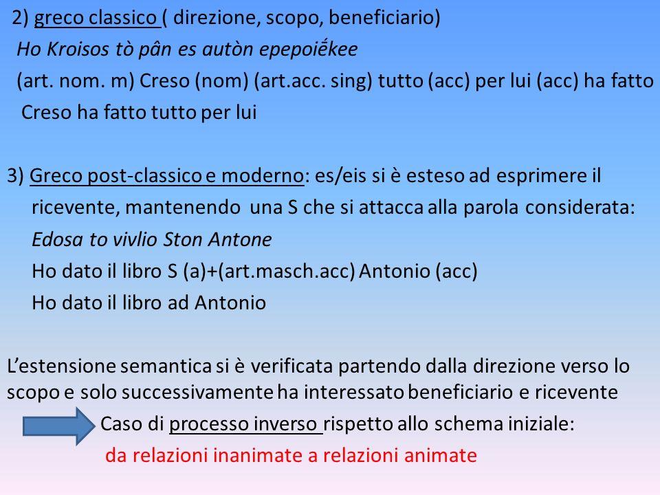 2) greco classico ( direzione, scopo, beneficiario) Ho Kroisos tò pân es autòn epepoiḗkee (art.