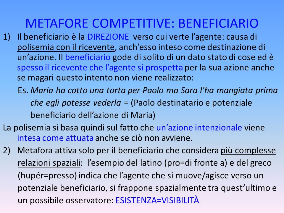 METAFORE COMPETITIVE: BENEFICIARIO