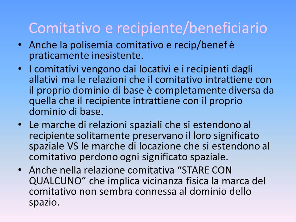 Comitativo e recipiente/beneficiario