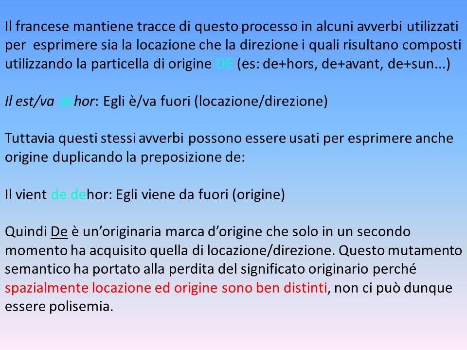 Il francese mantiene tracce di questo processo in alcuni avverbi utilizzati per esprimere sia la locazione che la direzione i quali risultano composti utilizzando la particella di origine DE (es: de+hors, de+avant, de+sun...) Il est/va dehor: Egli è/va fuori (locazione/direzione) Tuttavia questi stessi avverbi possono essere usati per esprimere anche origine duplicando la preposizione de: Il vient de dehor: Egli viene da fuori (origine) Quindi De è un'originaria marca d'origine che solo in un secondo momento ha acquisito quella di locazione/direzione.