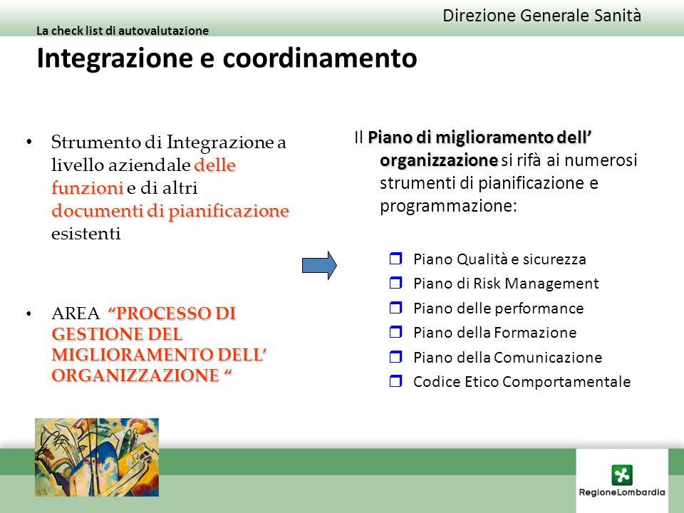 La check list di autovalutazione Integrazione e coordinamento