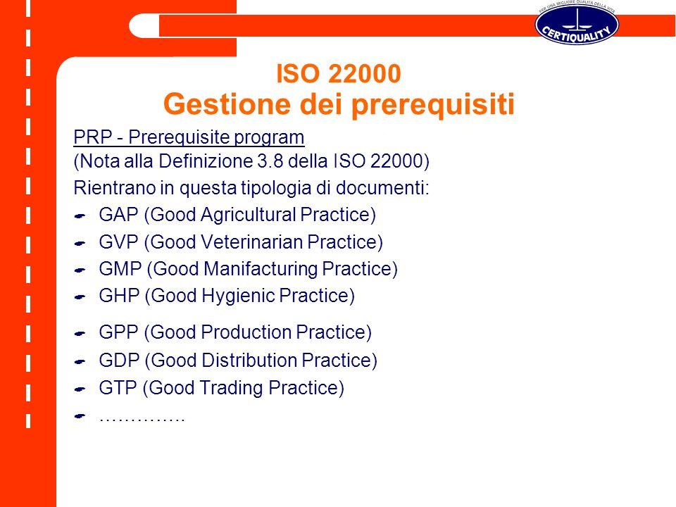 ISO 22000 Gestione dei prerequisiti