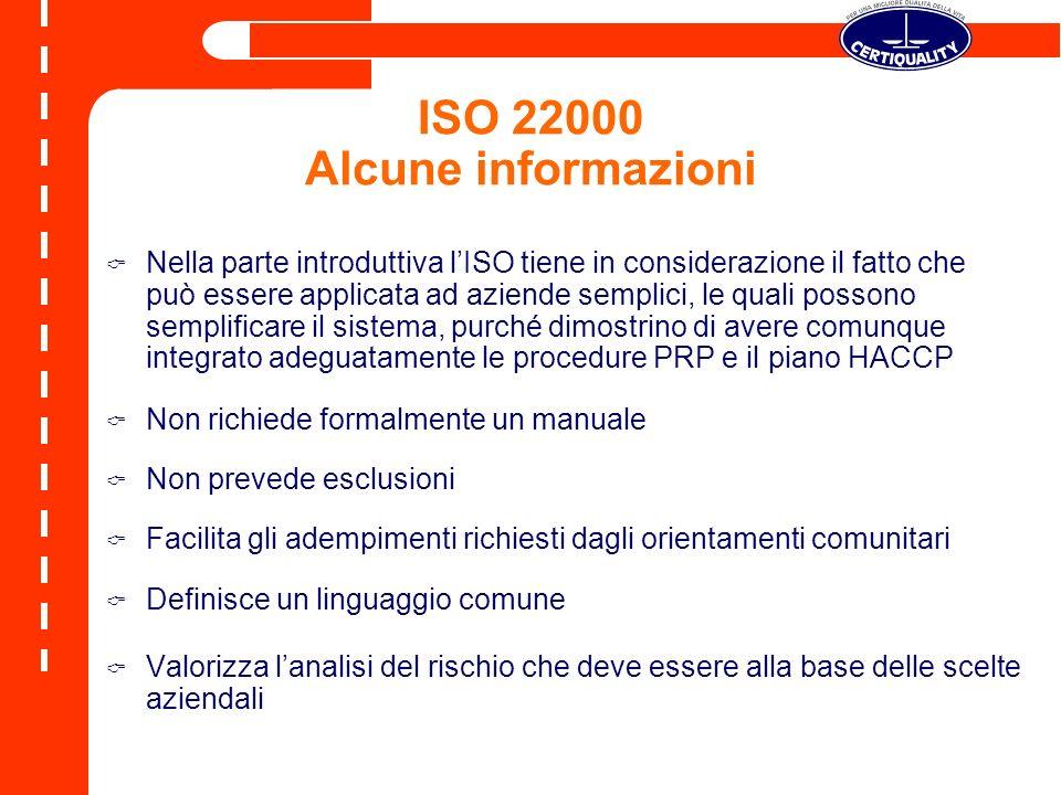 ISO 22000 Alcune informazioni