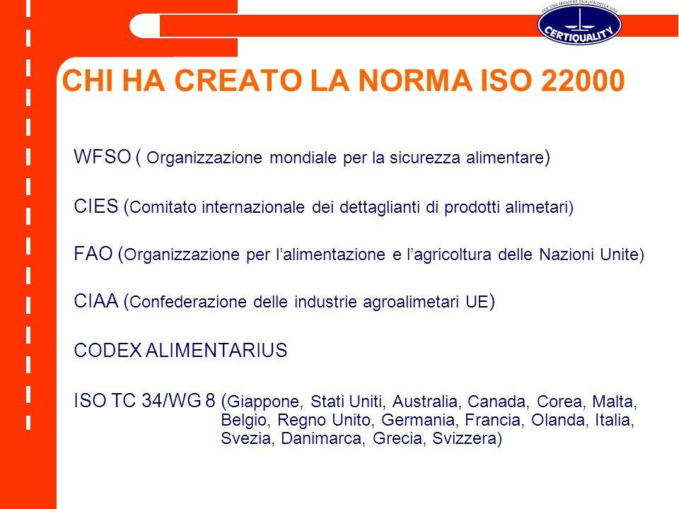 CHI HA CREATO LA NORMA ISO 22000