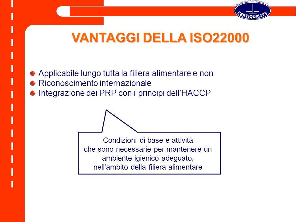VANTAGGI DELLA ISO22000Applicabile lungo tutta la filiera alimentare e non. Riconoscimento internazionale.