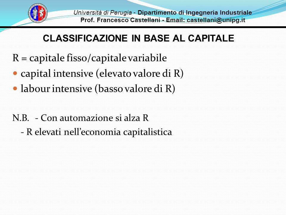 CLASSIFICAZIONE IN BASE AL CAPITALE